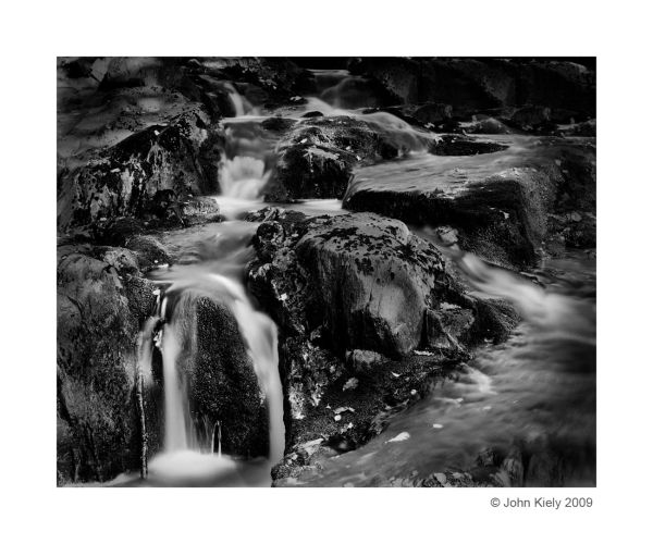 Flowing water over rocks with a long exposure
