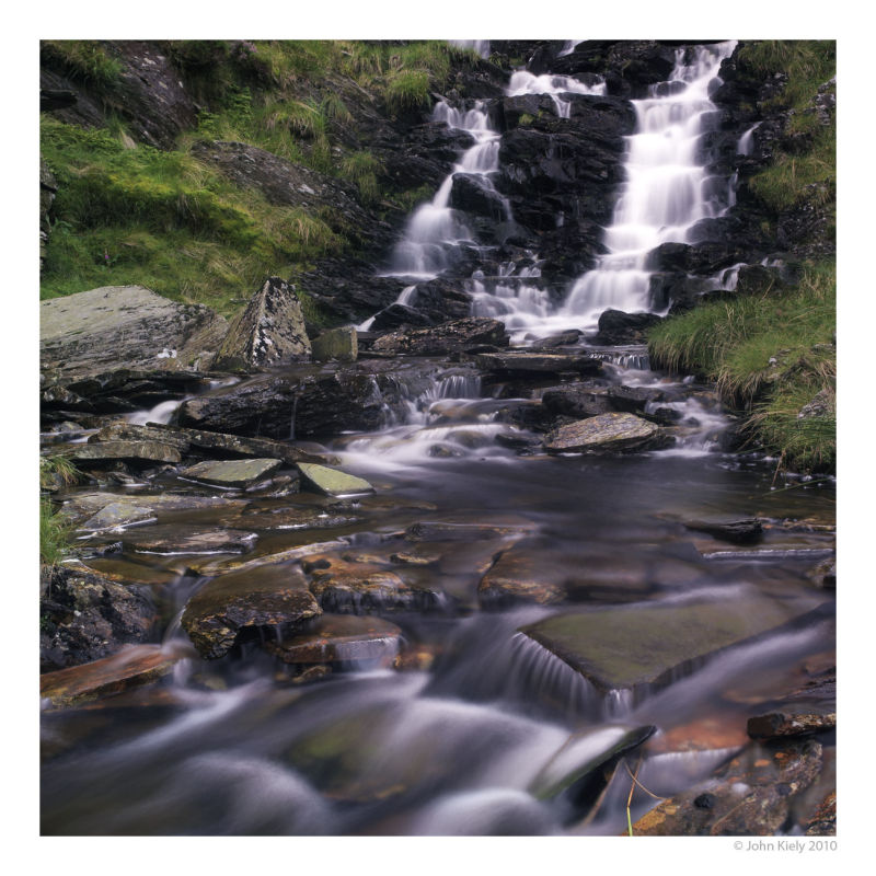 colour landscape photograph of Rhosydd waterfall