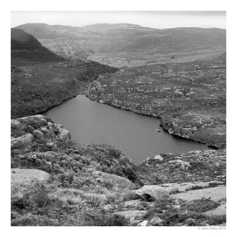 B&W landscape photograph of Llyn Morwynion