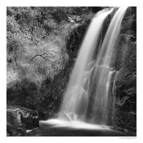 B&W landcape photograph of Rhinog waterfall