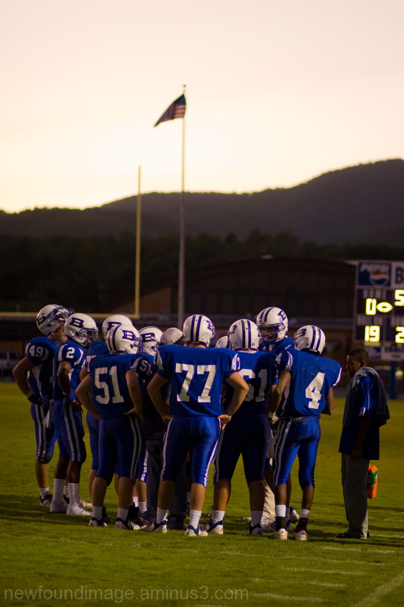 Mountains, American Flag, Football