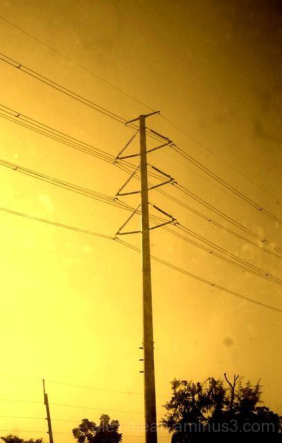 electricity post along SLEX on a bus