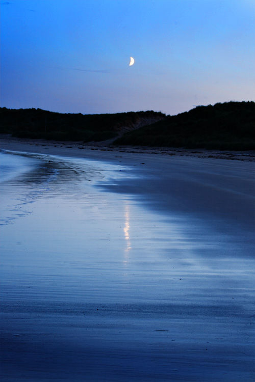 moon crescent over a beach