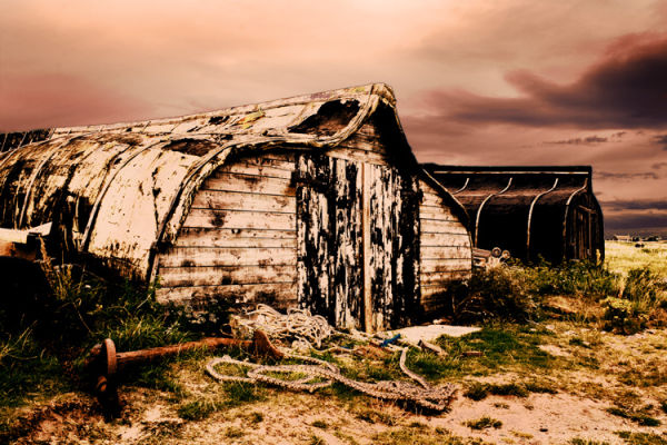 Boat huts at Lindisfarne