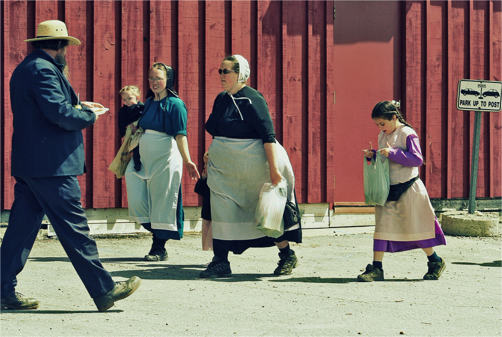 Amish Family in Shopping