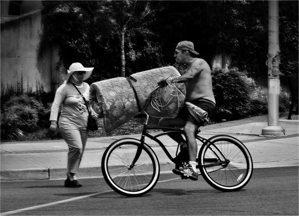 Biker with mattress