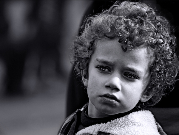 Curly Hair Boy portrait black and white