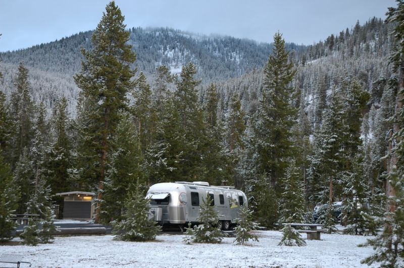 Airstream at Yellowstone National Park in winter