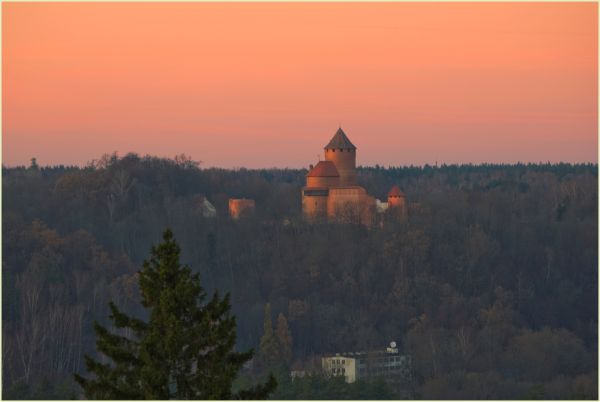 sunset over turaida castle