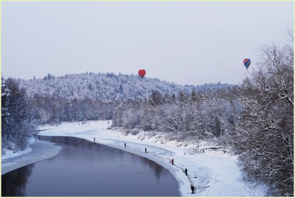 hot air balloons over river gauja in new year day