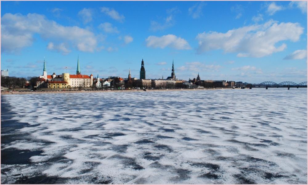 riga old town skyline in winter