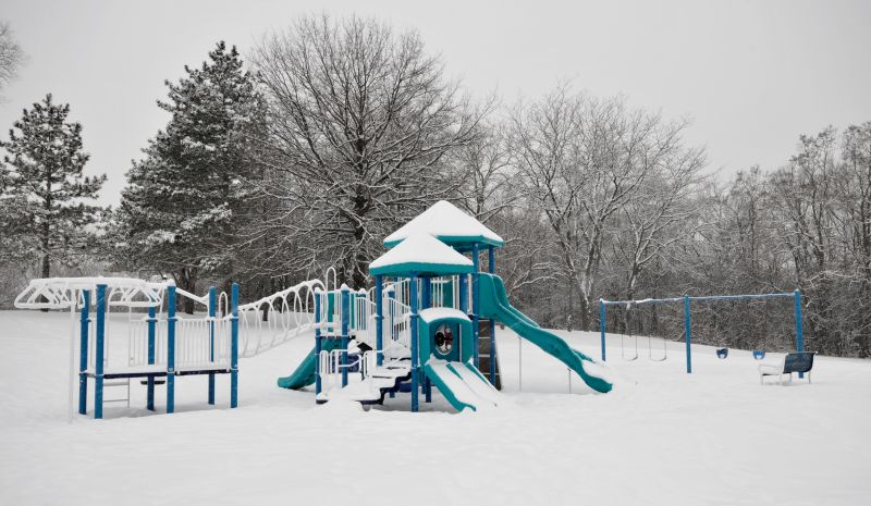 Playground during snow