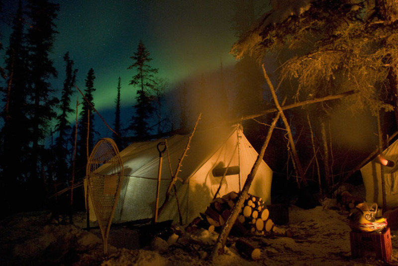 Prospector Tent and Northern Lights