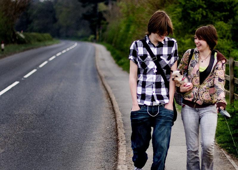 Phil and Harriet on a road near Alvaston, Derby