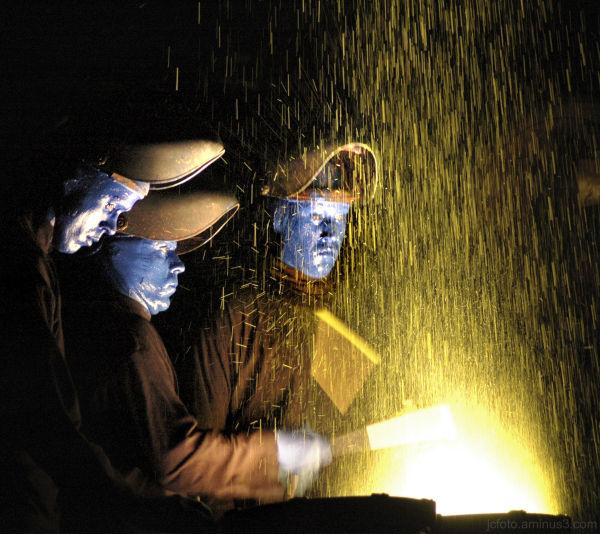 Blue Man Group performs at Universal Orlando.