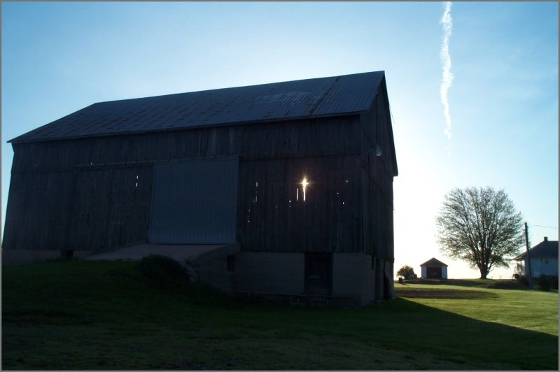 An old barn in silhouette