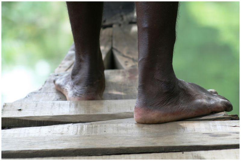 Captain's feet: Backwaters Kerala, India