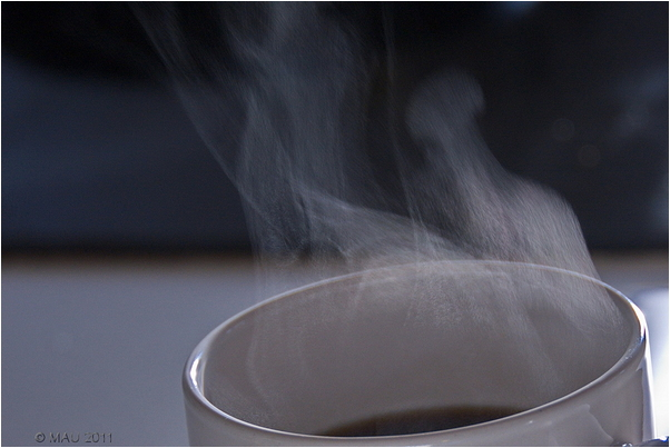 Vapour from a cup of coffe