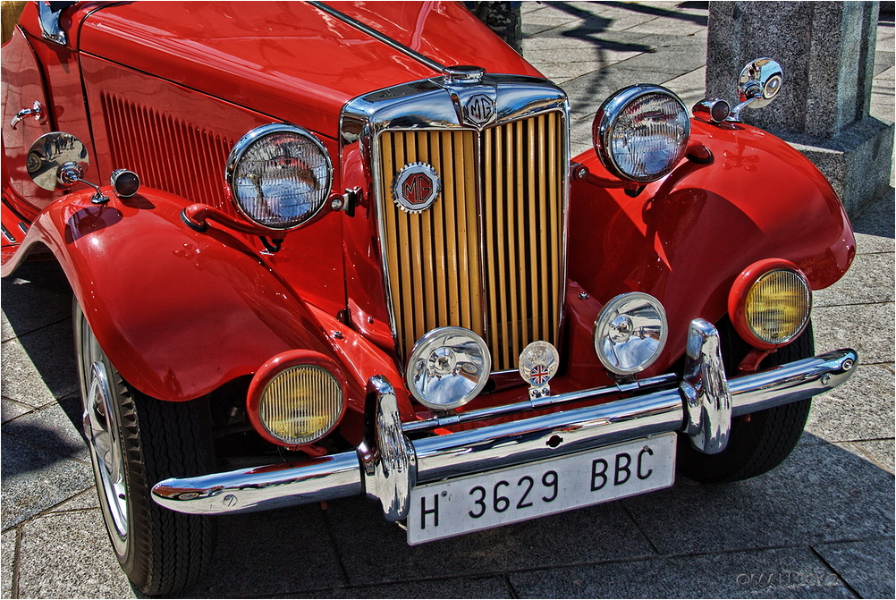 Front of  a vintage MG car