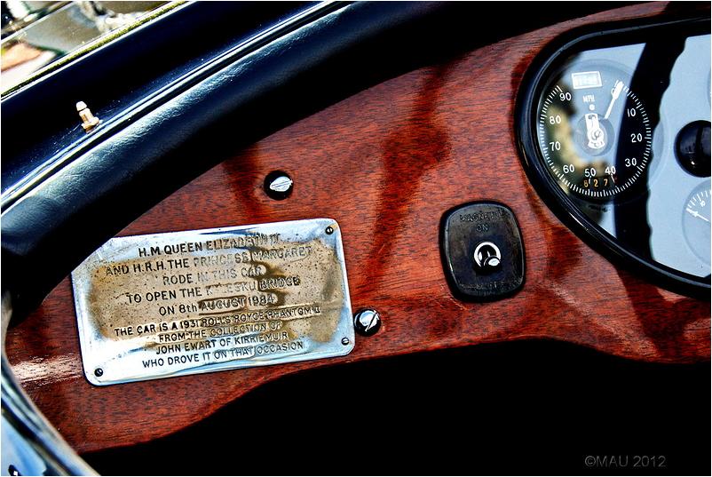 Dashboard of  a vintage Rolls Royce car