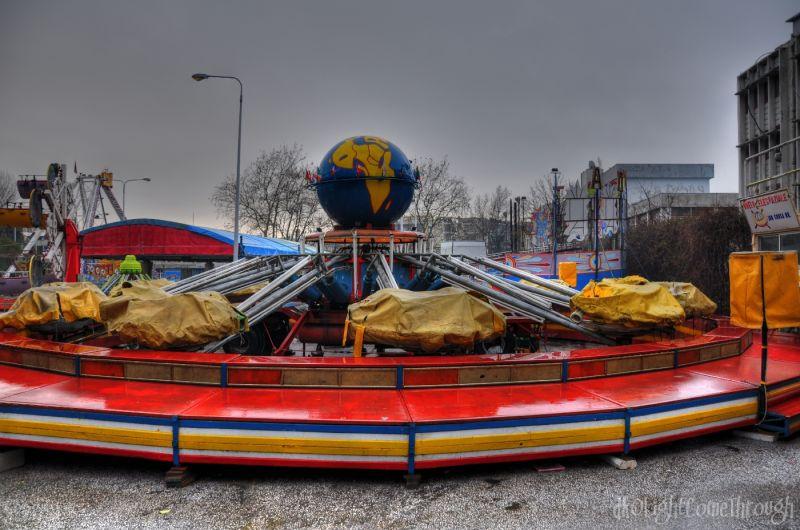 Carnival roller coaster under HDR