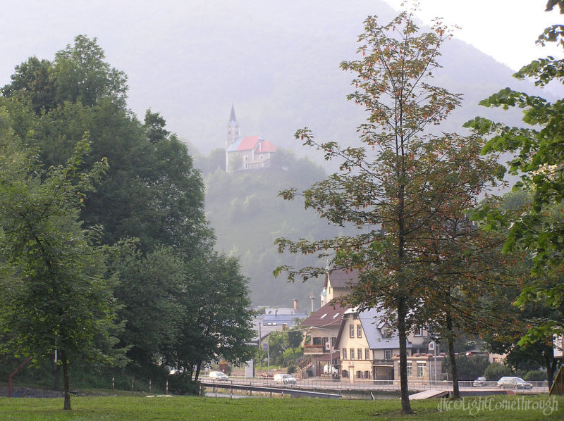 Ljubljana's countryside under heavy mist