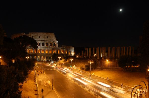 light trails in front of Colosseum...