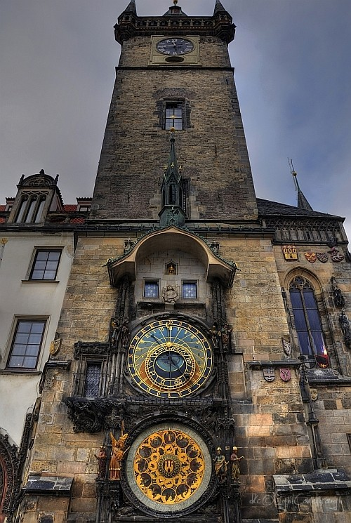 the clock tower in the center of Prague