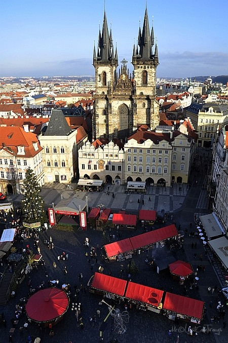 view from the clock tower in Prague