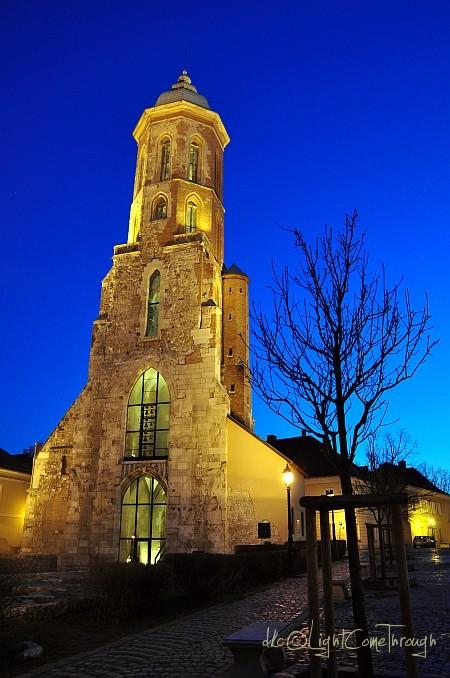Church under evening blue sky...