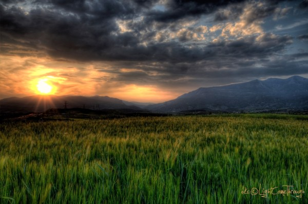 A glorious sunset over some fields ....