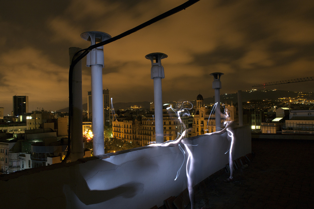 Long exposure in a barcelona rooftop