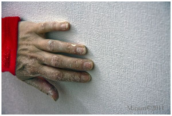 hand with paint on it
