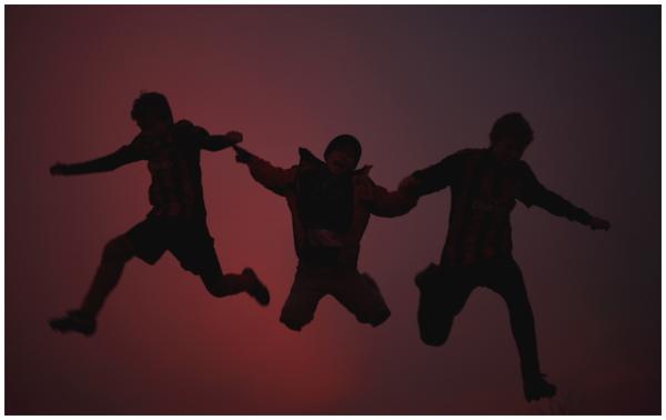 jump, silhoutte, sky,