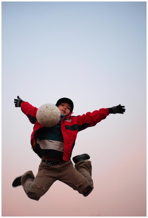 boy, jump, football