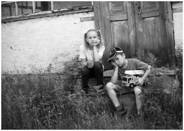 children behind a closed door