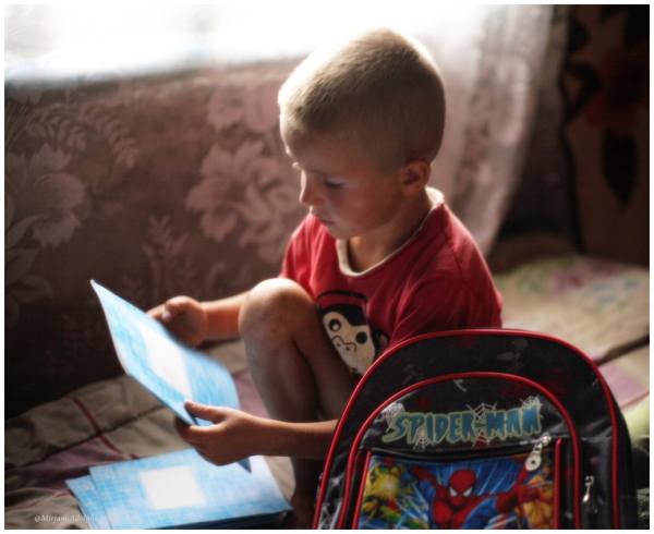 a child getting ready to school