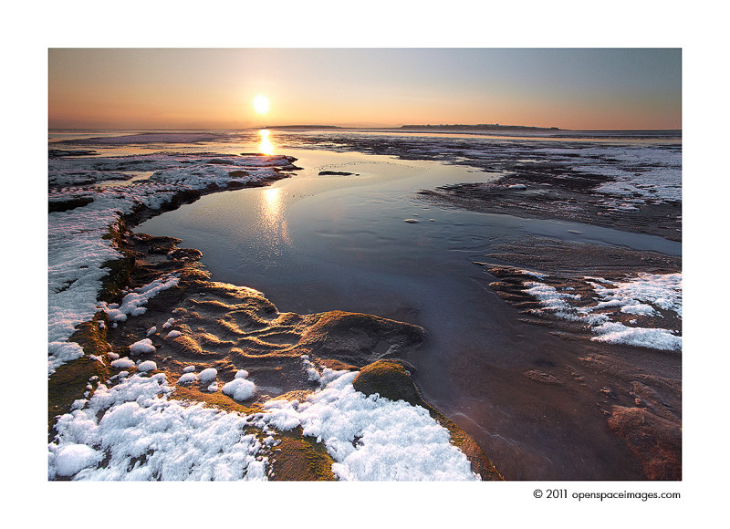 hilbre island sunset wirral snow