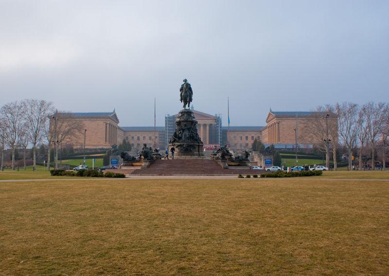 Philadelphia PA statue museum art grass yellow