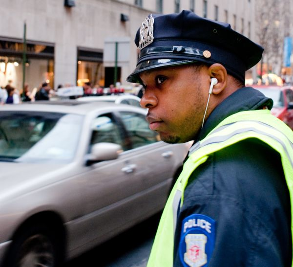 cop police earbud earphone car