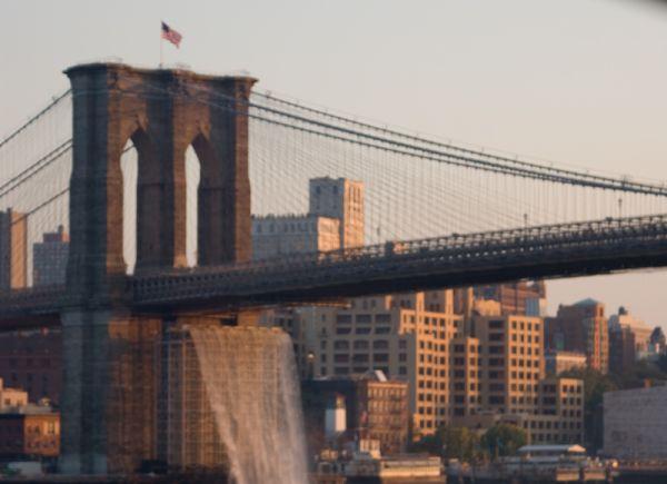 nyc ny new-york skyline brooklyn bridge waterfall