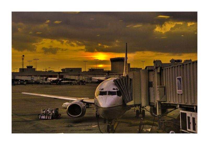 Plane Airport sunset