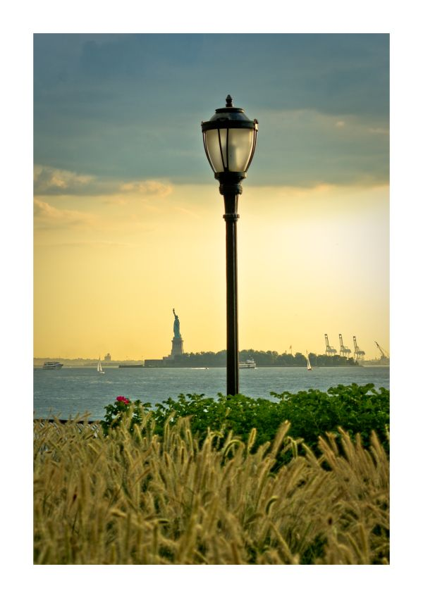 boat, hudson, light, new york, NYC, river, statue