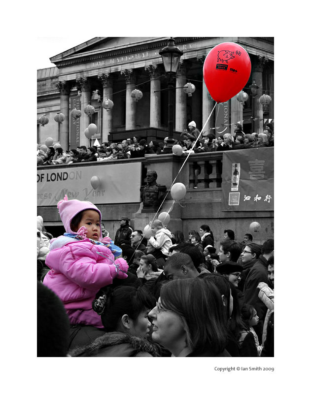 Pink girl with red balloon Chinese New Year