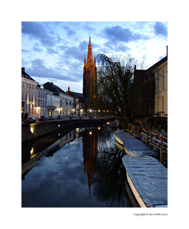 Dijver canal and Church of Our Lady, Bruges