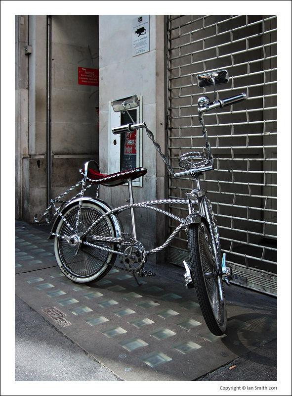 Chrome bike in Soho, London