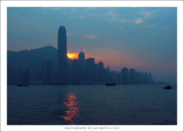 Sunset behind Hong Kong island