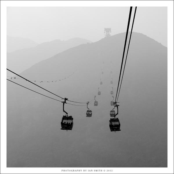 Riding the Ngong Ping 360 over Tung Chung Bay