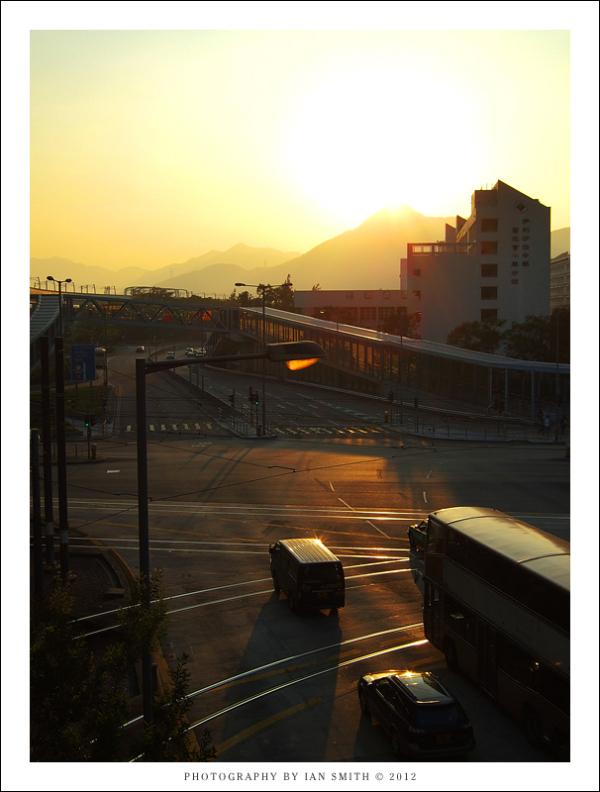 Sunset outside Tin Shui Wai MTR station