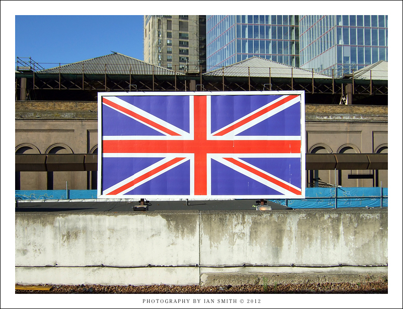 A large Union Jack at London Bridge Station